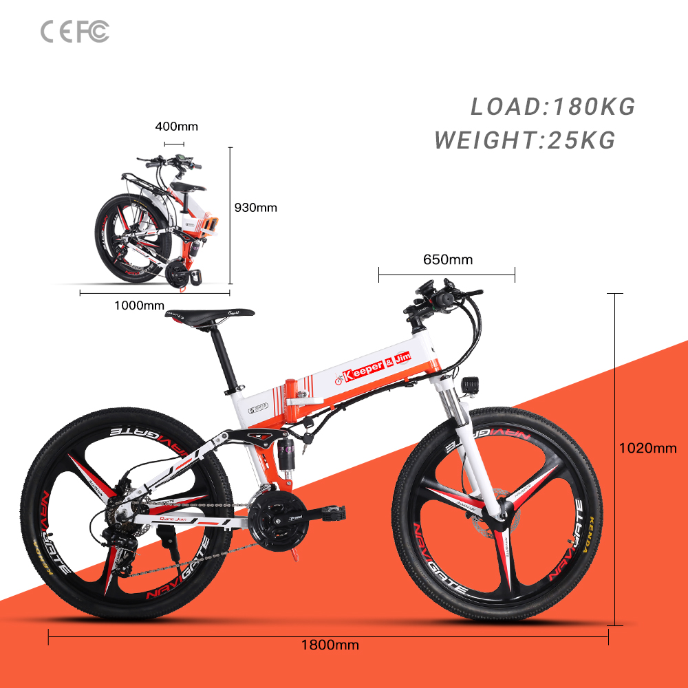"""K & J vélo électrique 500W 12.8AH 21 vitesses vélo électrique véhicule électrique 26 """"tout-terrain vélo électrique"""