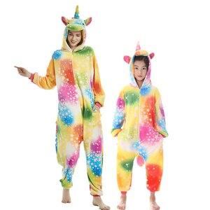 Image 2 - Enfants mère et fille à capuche pyjamas ensemble animal licorne pégase pyjamas famille correspondant pyjamas tenues hiver vêtements de nuit
