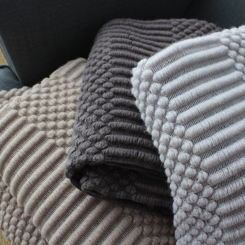 Europe Plaid Knit Air Conditioner Cover Nap blanket Comfortable warm tassel Nordic solid color Blankets for Beds Sofa black gray-2
