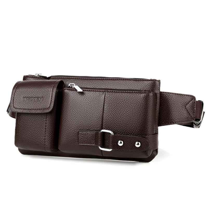 New Men Waist Packs Business Leisure PU Leather Multi-functional Chest Bag Casual Shoulder Bag Messenger Crossbody Packs