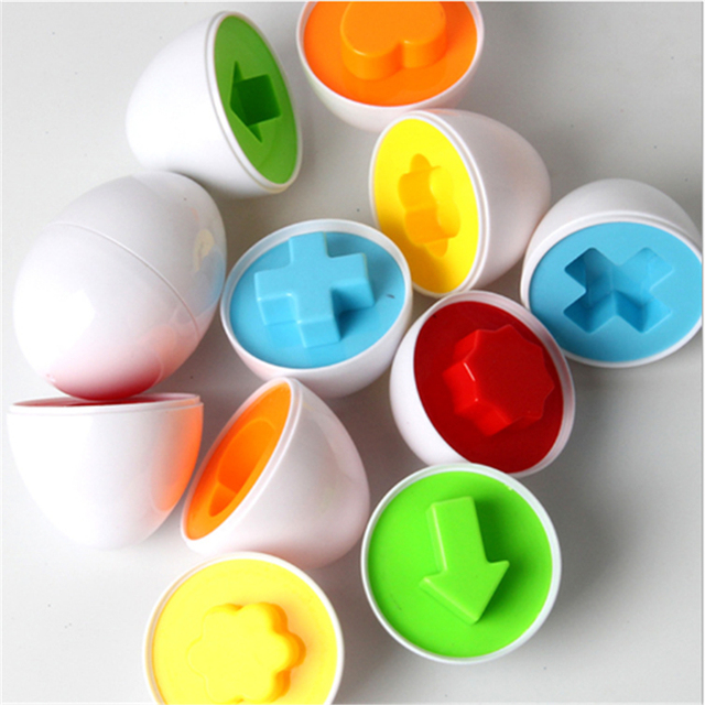 6PCS Montessori Learning Education Math Toys Smart Eggs 3D Puzzle Game For Children Popular Toys Jigsaw Mixed Shape Tools 3