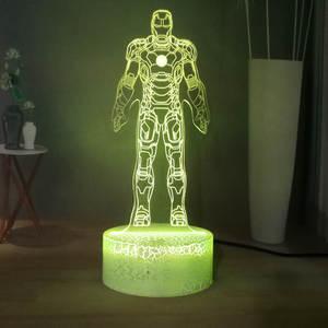 Toy Iron-Man Table-Lamp Gift Sleep-Night-Light Marvel Bedroom Superhero Kids Children