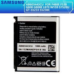 SAMSUNG Original Battery  AB603443CC AB603443CE AB603443CU For S5230C F488E G808E L870 W159 S7520U GT-S5233 G800 F539 1000mAh