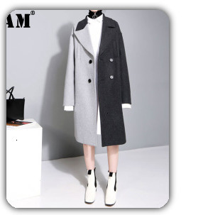 H798dd419ea1445fca0c0864064f766b8Y [EAM] Loose Fit Black  Pu Leather Spliced Big Size Jacket New Stand Collar Long Sleeve Women Coat Fashion Autumn 2019 JC2530