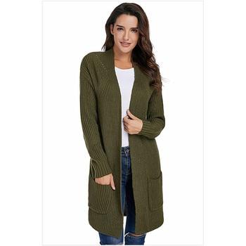 Suéter tejido mujer gris negro ejército verde S-2XL más tamaño 2019 otoño invierno nuevo manga larga cuello en V moda delgada suéter JD417