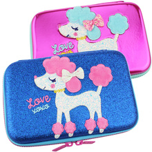 Pen boxes back to school toolkit The girls Pencil case big Pencil bag plus Korean version Poodle kawaii Pen holder Stationery