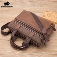 BISON джинсовый бренд мужской портфель сумки из натуральной кожи 14