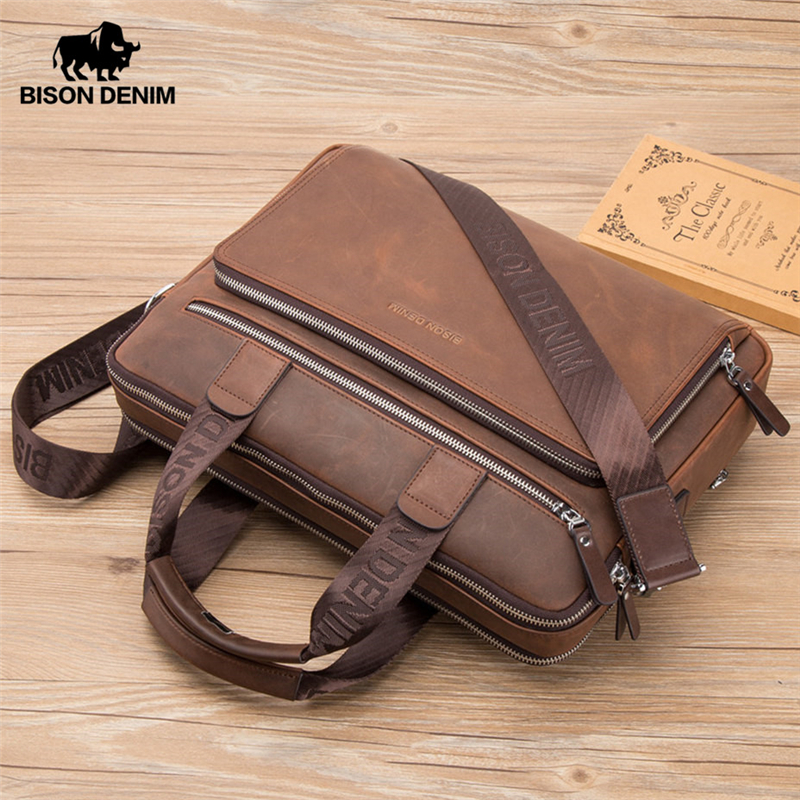BISON DENIM Brand Men's Briefcase Satchel Bags Genuine leather 14 Laptop Handbag Business Crossbody Shoulder Bags N2333 3