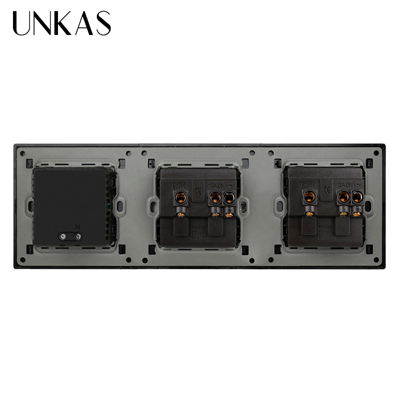 Prise de courant Standard britannique UNKAS prise électrique mise à la terre avec Double Port de charge intelligent USB 5V 2A sortie - 2