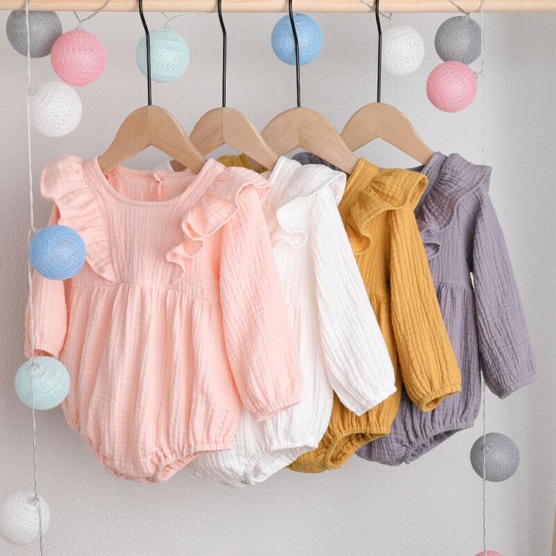Cute Infant Toddler Baby Girls Kid Long Sleeve Cotton Ruffle Bodysuit Romper Jumpsuit Autumn Clothes