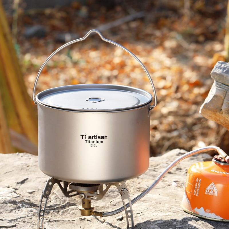 Tiartisan 2800ml Ultralight Outdoor Camping Titanium Pot Cooking Pot Big Capacity Titanium Cookware Hanging Pot