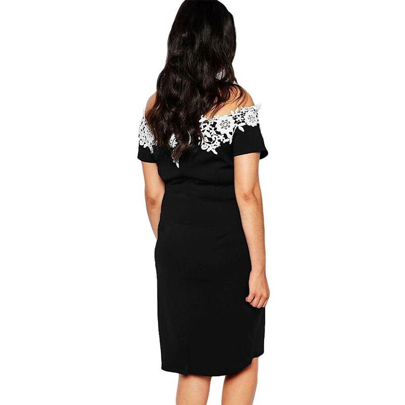 Elegant Lace Crochet Off Shoulder Plus Size Party Women Dress