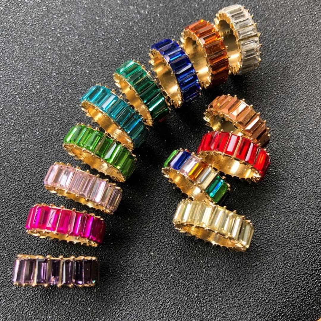 Nhiều Màu Nhẫn Pha Lê Dành Cho Nữ Rainbow Cưới Ban Nhạc Cubic Zirconia Nữ Punk Hình Học Nhẫn Trang Sức Anillos