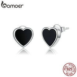 bamoer Genuine 925 Sterling Silver Black Agate Heart Stud Earrings for Women and Men Punk Jewelry 2020 Brincos SCE915