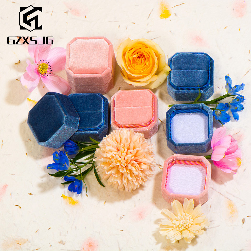 GZXSJG  5PCS Velvet Octagon Jewelry Boxes For Wedding  Pink Green Ring Boxes For Wedding Engagement Bridal Gifts Display Packing