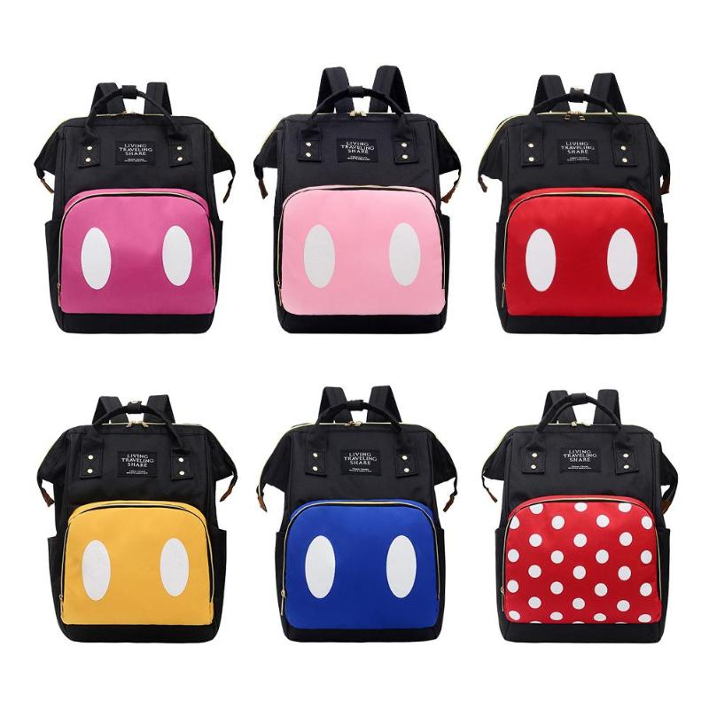 Fashion Diaper Bags Baby Nappy Bag Dot Printing Mummy Women Backpacks Large Capacity Travel Nylon Maternity Nappy Top-handle Bag