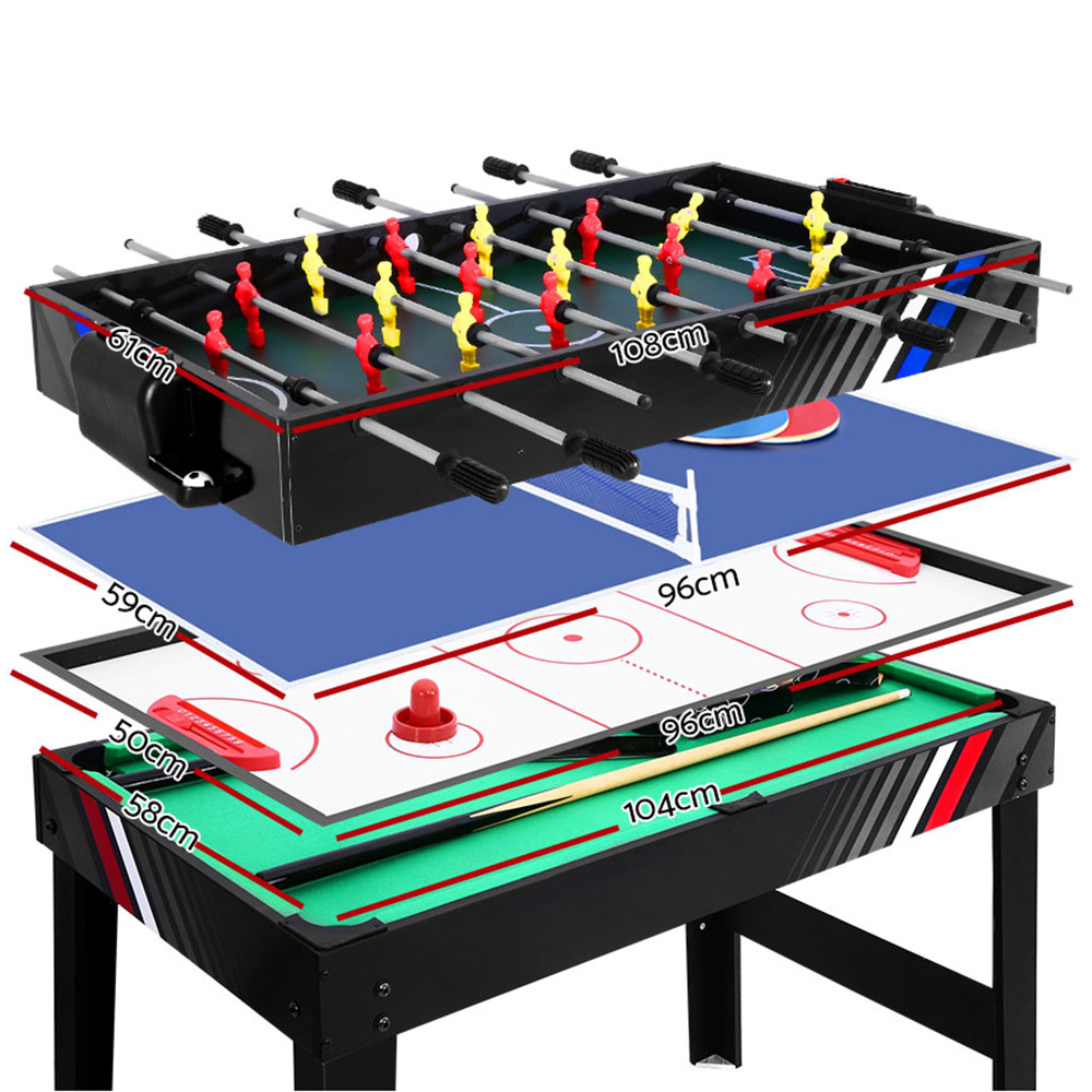4FT Table de Football baby-foot jeu de Football maison fête Pub taille enfants adulte jouet cadeau 4-en-1 Football Hockey Table Tennis jeu de piscine A2 - 4