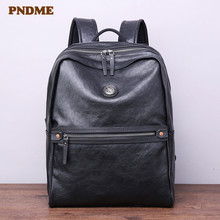 PNDME fashion casual high quality natural real cowhide men's backpack retro genuine leather bookbag travel black laptop bagpack