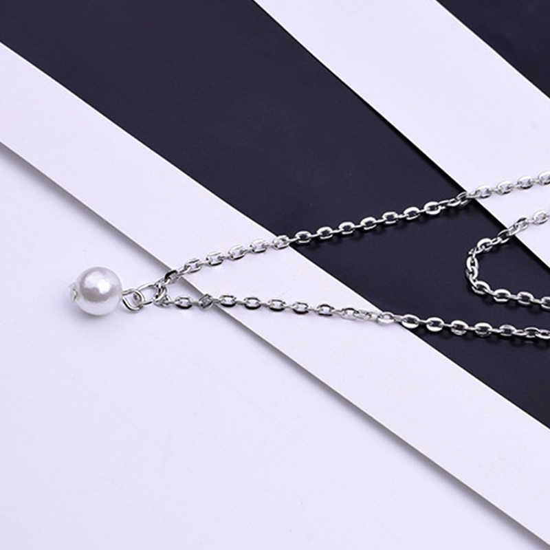 Manis Sederhana Dua Lapis Tulang Selangka Kalung Charming Wanita Kalung Rantai Liontin Wanita Fashion Tahun Baru Perhiasan Hadiah