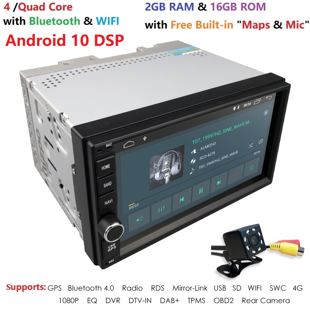 WiFi/4G Quad Core 2 Din 7 Inch Android 10 Universal Car Player Juke Qashqai Almera X Trail Note X-TRAIL For Nissan GPS Built-in