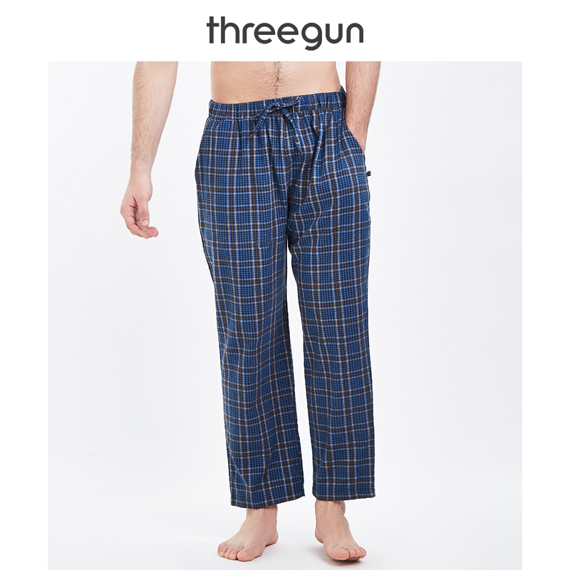 THREEGUN Sleep Pants Men Plaid Bottoms Check Sleepwear Gingham 100 Cotton Casual Pijamas Home Pyjama Trousers Solid Bottom XXXL