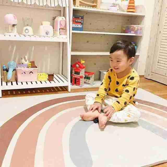 Tapis de jeu bébé enfants tapis descalade tapis arc-en-ciel Boho tapis mignon enfants tapis de jeu pépinière décor tapis pour chambre 145*105cm