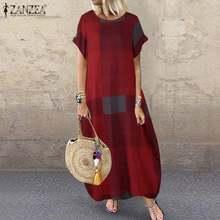 Moda yaz onay Maxi elbise ZANZEA 2021 kadın Baggy Sundress Casual kısa kollu Vestidos kadın ekose elbise artı boyutu 5XL