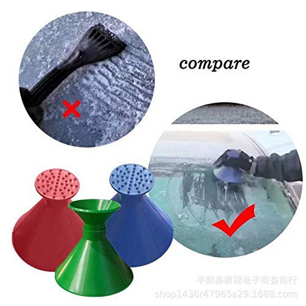 1pc Auto Car Magic Window Windshield Car Ice Scraper Shaped Funnel Snow Remover Deicer Cone Deicing Tool Window Glass Cleaning
