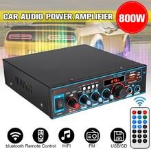 800 Вт 12 В/220 В 2CH HIFI автомобильный аудио усилитель мощности Домашний кинотеатр усилитель дистанционное управление сабвуфер стерео аудио усилитель