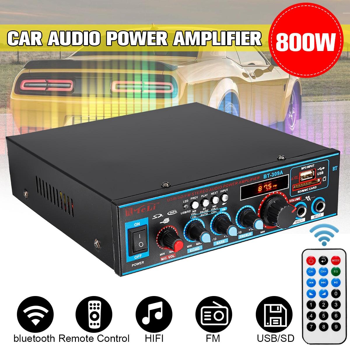 800 w 12 v/220 v 2ch amplificador de potência áudio do carro de alta fidelidade amplificador de controle remoto subwoofer amplificador áudio estéreo