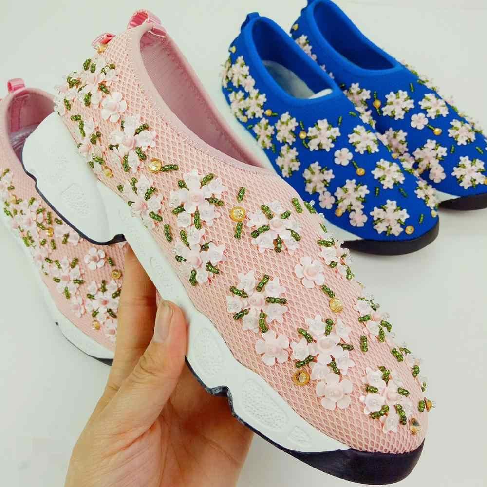 Stringa di Perline Fannulloni Delle Donne Scarpe Basse Donna Scarpe Delle Signore di Modo Della Maglia Casual Zapatos De Mujer Bling Sapato Feminino Scarpe da Viaggio
