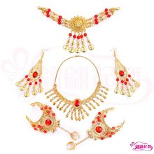 New Style India Dance Accessories Belly Dance Single Diamond Necklace Forehead Diamond Head Chain Earrings Sunflower Bracelet Br(China)