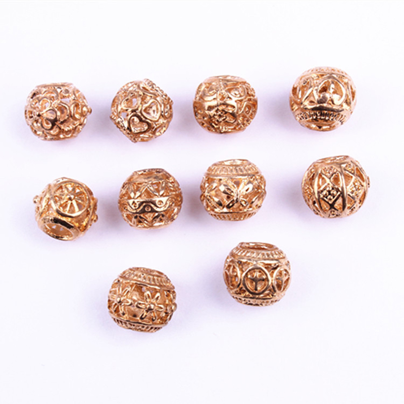 20pcs Rose Gold Alloy Viking Hollow Round Hair Braid Dread Beard Dreadlock Beads Rings Tube For Hair Accessories Jewelry Finding Leather Bag