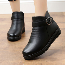 Ankle boots women Belt buckle Crystal Winter Boots Women For Quality ZIP Plush Warm Plus size 41 Waterproof Wedge shoes Woman