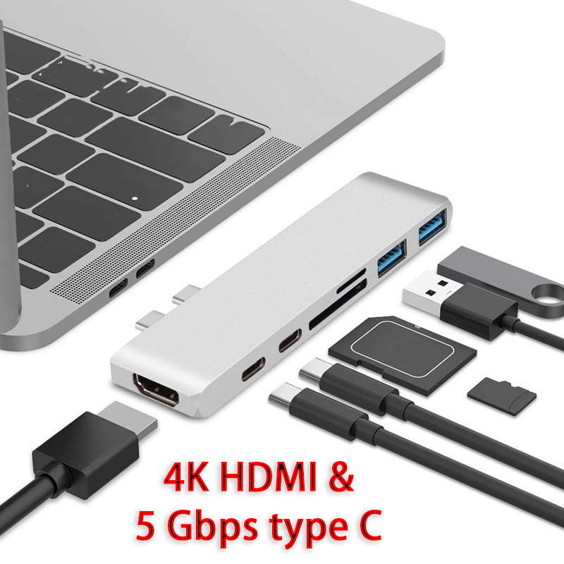 Metal Macbook Dock Station USB3.0 With Thunderbolt 3 & 5 Gbps Type C Output Support 4K HDMI And SD/TF Card Reader USB Drive