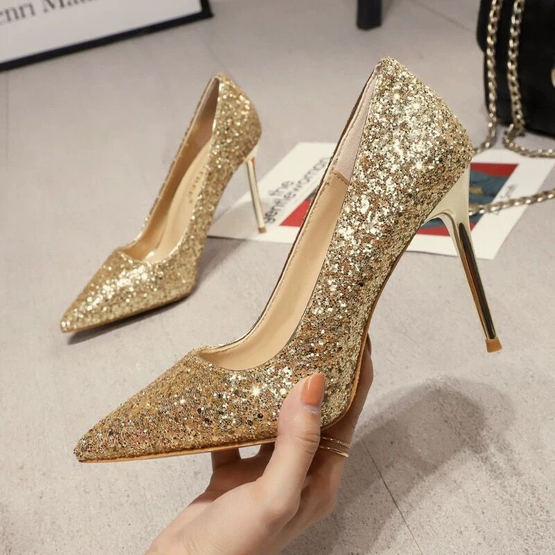 New Spring Women Pumps High Thin Heels Pointed Toe Metal Decoration Sexy Bling Bridal Wedding Women Shoes Gold High Heels 9cm