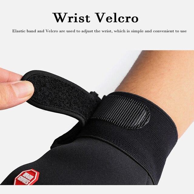 Outono inverno das mulheres dos homens luvas de ciclismo dedo cheio tela sensível ao toque ao ar livre esportes luvas de bicicleta com logotipo reflexivo 5