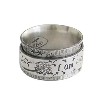 Rotating Ring Suicide Depression Awareness Pause Ring I Am Enough Inspiration Jewelry Strength Gift 2020 image