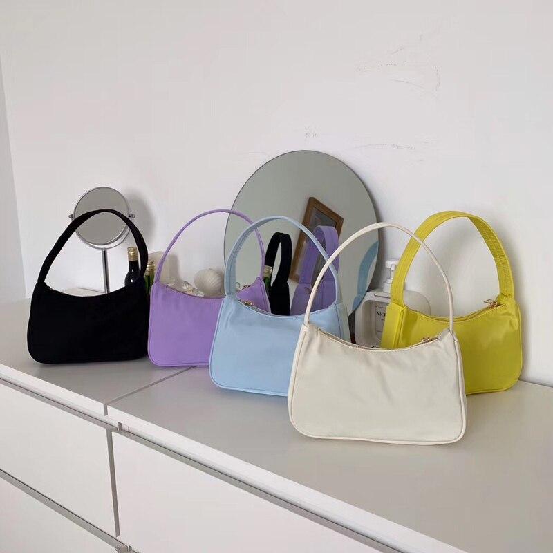 2020 винтажная женская сумка багет, женские сумки Хобо, женские маленькие сумки на плечо, дизайнерская нейлоновая сумка на молнии Oxter, Подмышечная сумка, кошелек Сумки с ручками      АлиЭкспресс