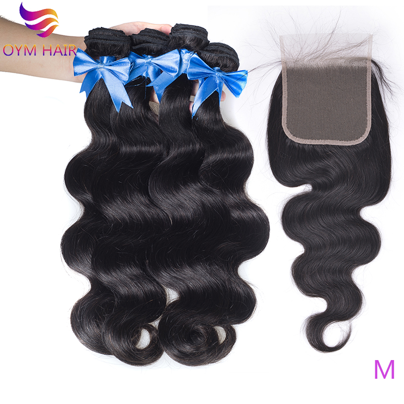 OYM HAIR Brazilian Body Wave Bundles With 5x5 Lace Closure Double Weft Remy 100% Human Hair 3/4 Bundles With Closure