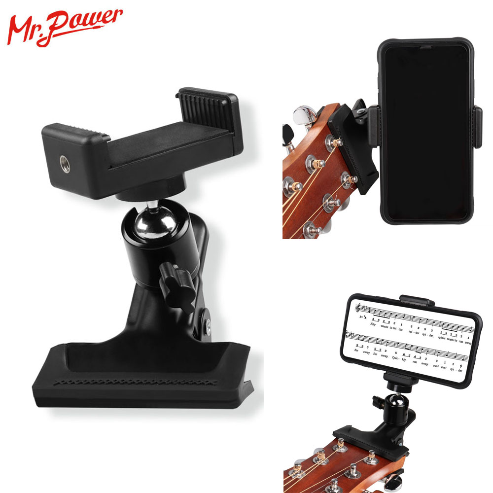 Guitar Head Mobile Phone Holder Clip Live Broadcast Bracket Stand Mobile Phone Tripod Clip Head For IPhone Samsung Smart Phones