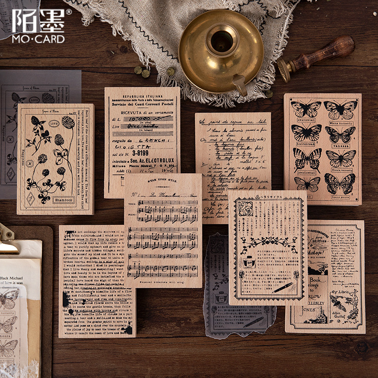 Vintage Backgound Decoration Wood Stamp Wooden Rubber Stamps For Scrapbooking Handmade Card Diy Stamp Photo Album Craft Gifts