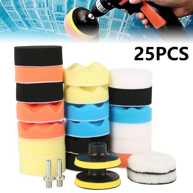 Kit de tampons de polissage pour perceuse, 12 pièces de 3 pouces, éponge de polissage pour voiture, bateau, polisseuse de roue, élimine les rayures