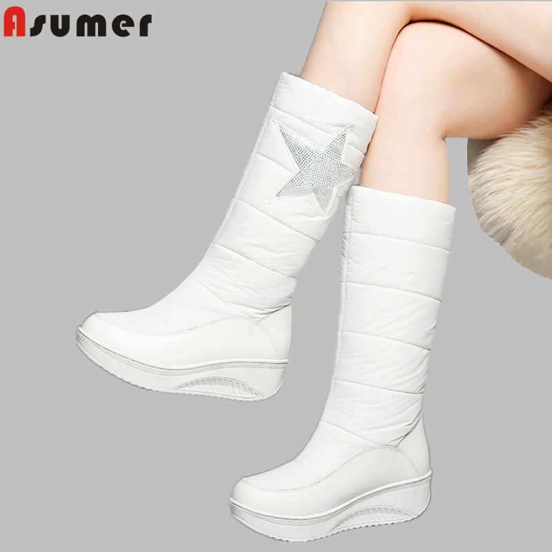ASUMER artı boyutu 35-44 yeni hakiki deri aşağı kar botları kadın takozlar platform çizmeler üzerinde kayma beyaz siyah kadın kışlık botlar