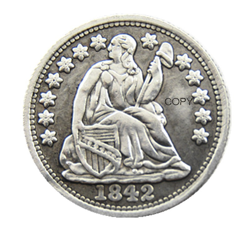 USA 1842-P-O Liberty Seated Half Dime No Stars (Regular Strike) Copy Coins