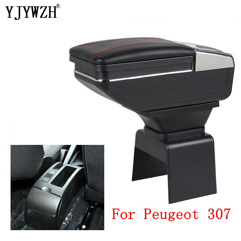 Armrest box For Peugeot 307 Dual layer heighten USB Charging Centre Console Storage Box ashtray Car Styling accessories|Armrests| |  - title=