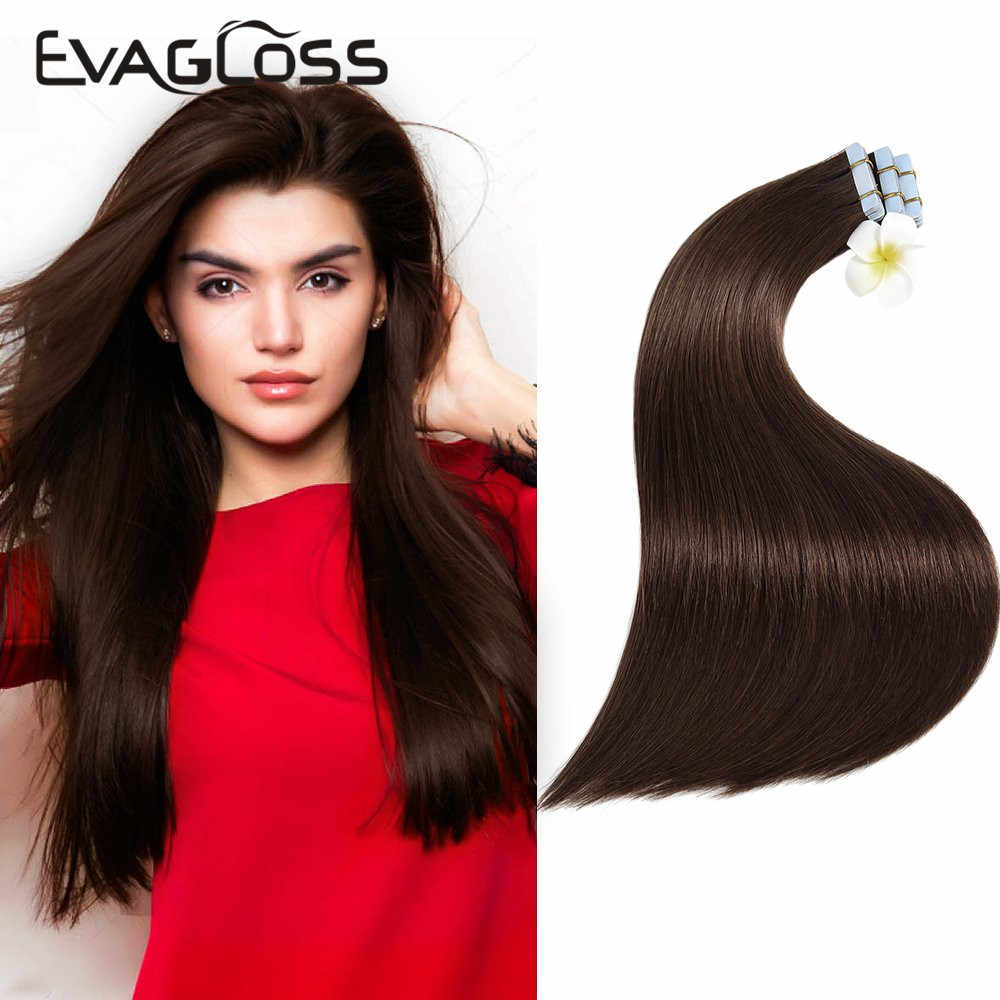 EVAGLOSS Skin Weft Machine Remy Tape in Human Hair Extensions 20pcs 40pcs 80pcs Adhesive Tape in Hair Extensions