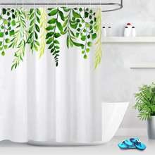 Занавеска для душа с зелеными листьями и акварелью Весенняя