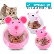 Tumbler Cat Toy Healthy Feeder Food Leak Dispenser Pet Interactive Toys For Cat Mouse Shape Bite Resistance IQ Treat Cat Product(China)