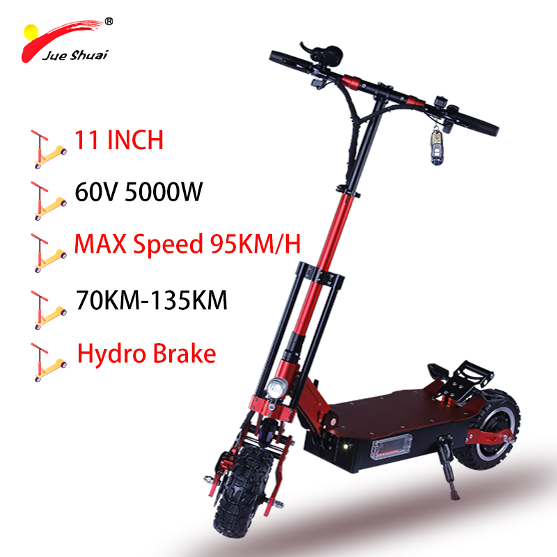 5000W 60V 11 Inch Electric Scooter Off Road Tire Tube Strong Power Samsung Lithium Battery Scooter Electric MTB Skateboard Adult